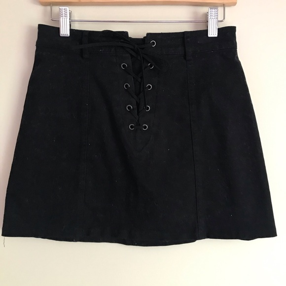 Forever21 Brushed Twill Front Lace-up Mini Skirt